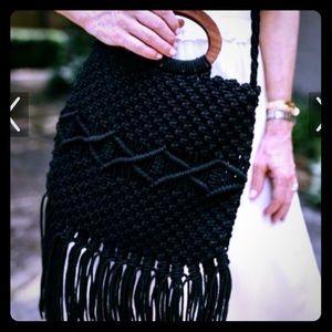 NWT Free People Danielle Nicole Black Fringe Bag